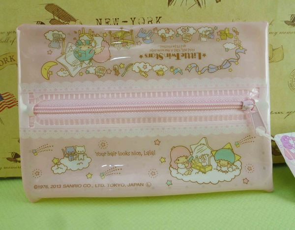 【震撼精品百貨】Little Twin Stars KiKi&LaLa 雙子星小天使~扁化妝包_粉