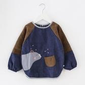 兒童罩衣秋冬季長袖防水圍裙男女童寶寶吃飯衣圍兜護衣小孩反穿衣
