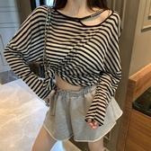 長袖T恤 秋季新款韓版寬鬆薄款長袖防曬上衣網紅小心機字母T恤女 - 歐美韓熱銷