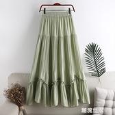 夏季新款高腰新顯瘦百褶純色不規則拼接中長款A字半身女裙子W222『潮流世家』