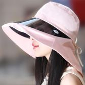 夏天女士UV鏡大沿遮陽帽遮臉護頸太陽帽防水防曬防紫外線正韓時尚