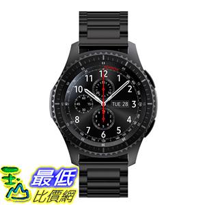 [106玉山最低比價網] 三星Gear S3 Classic Frontier手錶錶帶 替換腕帶 金屬不銹鋼22mm 黑色