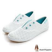 Hush Puppies 涼感沖孔咖啡紗皮質懶人帆布鞋-白/湖綠