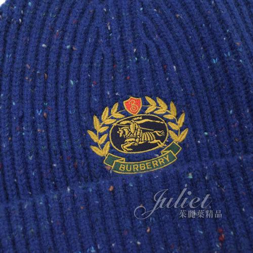茱麗葉精品【全新現貨】BURBERRY 4078533 刺繡徽章羊毛混訪針織毛帽.海軍藍