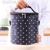 野餐袋 印刷圓點小清新飯盒包手提包飯袋防水鋁膜野餐便當圓桶保溫包秒殺價YXS  七色堇