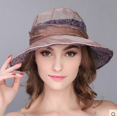 夏天韓版防曬可折疊真絲遮陽帽渡假出遊沙灘帽子  -charle0028