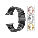 Apple Watch Series1~7/SE代 通用 錶帶配件 蘋果手錶金屬不銹鋼金屬三珠智能手錶帶 贈錶帶調整器