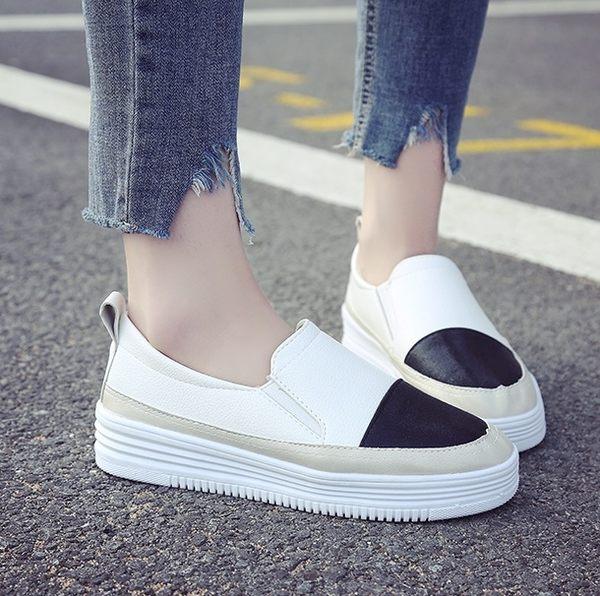 DE shop~(NE-2233)懶人百搭厚底樂福鞋平底厚底鞋