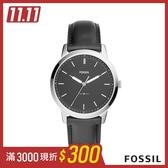 FOSSIL THE MINIMA 時尚經典真皮男錶-低調墨黑 44mm