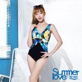 【Summer Love 夏之戀】熱帶花卉連身三角泳衣(E16712)