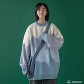 毛衣女 毛衣女寬松外穿2020新款秋冬套頭慵懶風高領拼色上衣【快速出貨】