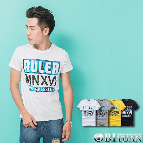 短袖T恤【L35109】OBI YUAN街頭感RULER迷彩拼接印花圓領短袖上衣 共4色