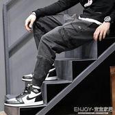 拼接工裝褲男 牛仔褲男士寬松復古工裝黑灰色拼接小腳褲子多口袋哈倫束腳褲 宜室家居