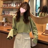 新款長袖 長袖T恤女寬鬆打底衫春秋新款韓版慵懶風學生中長款純色上衣 快速出貨