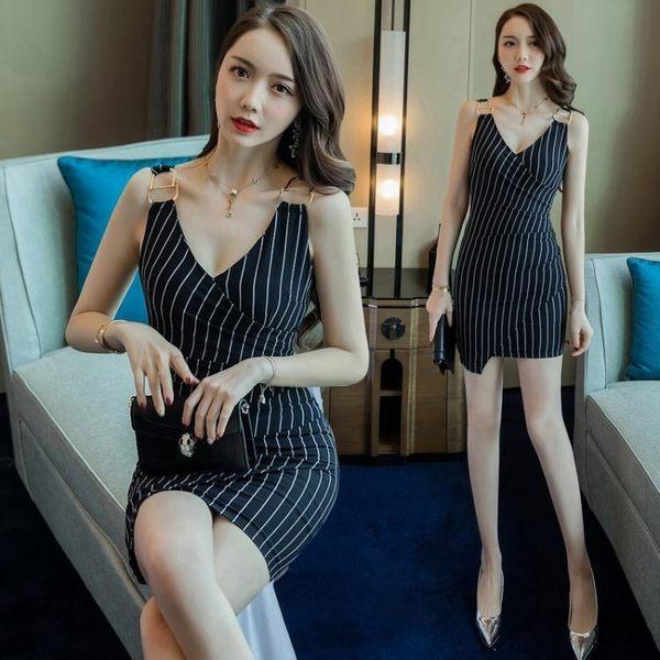 0842#夏裝韓版女裝OL氣質修身條紋包臀裙連身裙女GT2F-233-A依佳衣