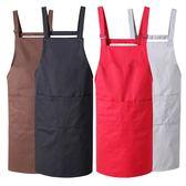 圍裙韓版時尚廚房定制全棉印logo工作服超市防水防油純棉做飯圍腰  居家物語