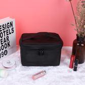 韓版黑色手提化妝包旅行收納包防水簡約多功能大容量洗漱包小方包【限時八五折】