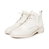 MICHELLE PARK  ‧牛皮綁帶拼接短靴〈米白〉