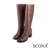 SCONA 全真皮 簡約率性厚底長靴 咖啡色 8753-2