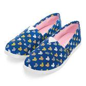 DISNEY 可愛滿點 滿版米奇印刷懶人鞋-藍(女)