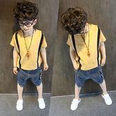 男童短袖襯衫黃色中大童2018夏季童裝兒童