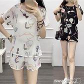 兩件套 短褲套裝女夏季韓版時尚寬鬆雪紡衫短袖小清新氣質兩件套【小天使】