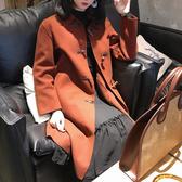 #大衣#翻領#牛角釦 毛呢 氣質 長大衣 長袖 外套 M碼【MYH180】 icoca