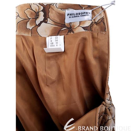 PHILOSOPHY 咖啡色漸層印花及膝裙 1230446-07