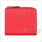 Kate Spade STACI金字LOGO十字紋牛皮6卡扣式短夾(紅)