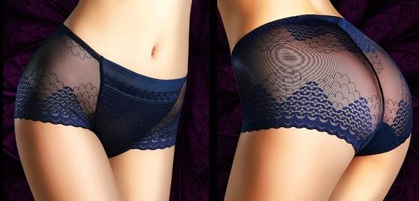 蕾絲透明誘惑中腰收腹提臀無痕大碼女士三角褲6入-lqm