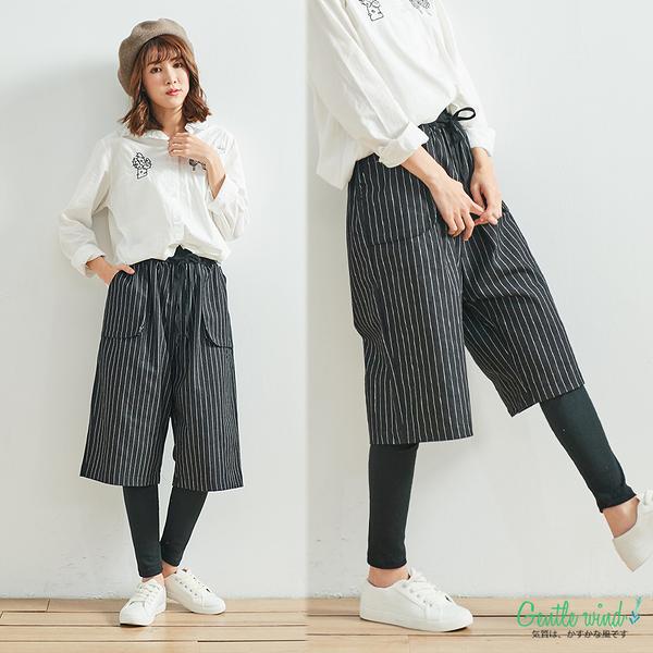 假兩件厚棉質五分褲(2色)-F【Gentle wind 輕輕.吹】
