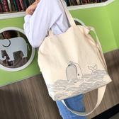 無染手繪風-嬉戲藍鯨兩用帆布包-生活工場