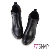 短靴-TTSNAP 酷炫大方造型側拉鍊中跟踝靴 黑