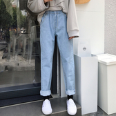 捲邊牛仔褲 長褲鬆緊腰寬鬆顯瘦哈倫褲女【免運】