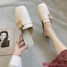 穆勒鞋 包頭半拖鞋女外穿夏季新款百搭方頭粗跟懶人涼拖穆勒鞋子-Ballet朵朵