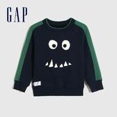 Gap男幼童 Logo撞色條紋針織衫 593025-海軍藍