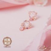 耳環 韓國直送鏤空花朵圈圈垂墜蛋白石耳環-Ruby s 露比午茶