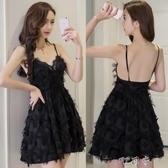夏裝女夜場低胸羽毛流蘇吊帶裙顯瘦性感晚禮服洋裝女夏 交換禮物