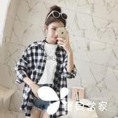 韓版黑白格子襯衫 長袖寬松襯衣學生防曬外套