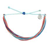 Pura Vida 美國手工RIPTIDE 粉橘水藍色螢光 可調式手鍊衝浪海灘防水手繩 手鍊