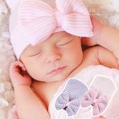 針織蝴蝶結棉感嬰兒帽 童帽 胎帽 大蝴蝶結 嬰兒帽