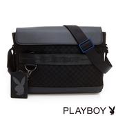 PLAYBOY- 翻蓋斜背包 PARKOUR 跑酷系列-格紋黑