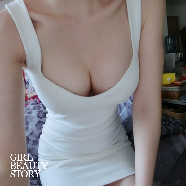 SISI【D8069】性感簡約U型低領爆乳緊身顯瘦無袖螺紋包臀背心連身裙洋裝