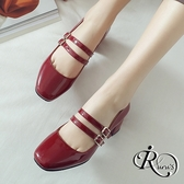 韓系個性雙扣環設計漆皮尖頭粗跟包鞋/4色/35-39碼 (RX0004-7119) iRurus 路絲時尚