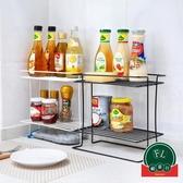 廚房收納架鐵藝雙層調料架置物架多功能落地架子【福喜行】