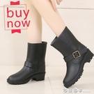 雨鞋女春秋時尚中短筒套鞋防水膠鞋防滑水靴大碼馬丁雨靴