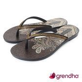 GRENDHA 金屬質感時尚極簡夾腳鞋-黑色