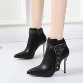 裸靴 高跟馬丁靴女細跟202020秋冬新款韓版尖頭百搭裸靴時尚瘦瘦短靴子 降價兩天