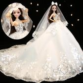 (中秋特惠)手工diy鑲鉆芭芘比娃娃套裝婚紗娃娃新娘 女孩公主生日新年禮物洋娃娃xw