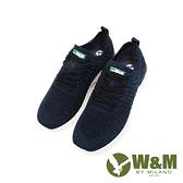 W&M(男)綠標logo 飛線編織休閒鞋 男鞋-深藍(另有黑)